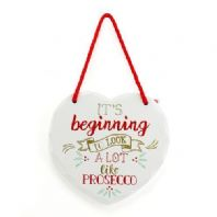 Its Beginning To Look A Lot Like Prosecco Christmas Heart Shaped Wooden Sign Box WAS £4.95...